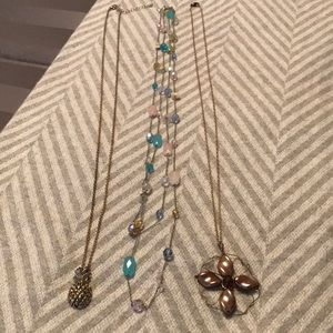 Long Necklace Bundle Gold Pineapple Silver Beads